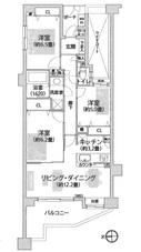 クリオ武蔵中原参番館 303号 -間取り図