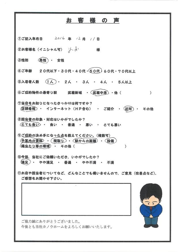 Y.I 様 アンケート用紙